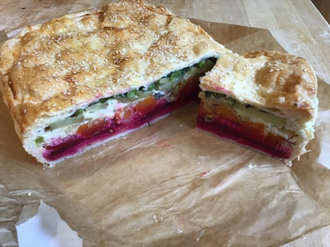 Vegetarian rainbow pie